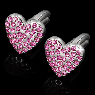 Hearts with Pink Crystals Cufflinks