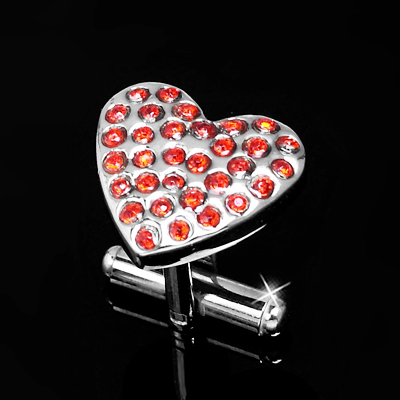 Hearts with Red Crystals Cufflinks
