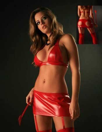 PVC Mini Skirt with 'Bum Cheek Peepholes' & Bra Top