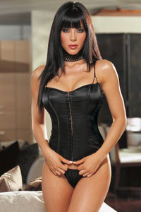Corset and G-String (C15) - Black