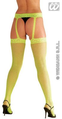 Fishnet Thigh High Stockings with Suspenders (Widmann 4764F)  - Neon Green