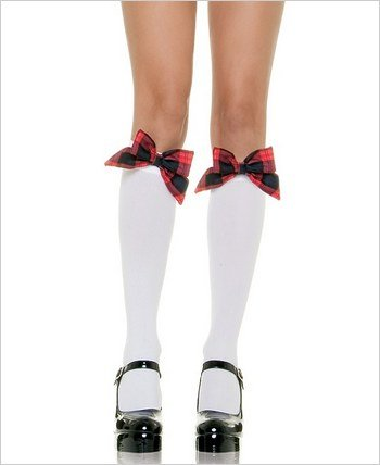 Knee Highs - White with Plaid Bows (Leg Avenue 5560)