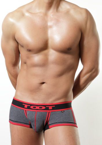 Men's Boxers (T 10) - Dark Grey with Red
