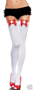 Nurse Thigh High Stockings - White