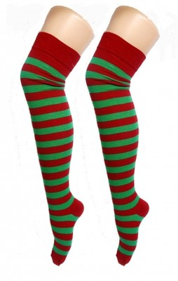 Over The Knee Socks - Red & Green Stripes