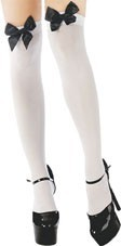 Over the Knee Stockings (Classified H2344) - White with Black Bows
