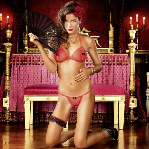 Peek-A-Boo Bra and G-String Set (Baci 190)