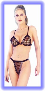 PVC and Net Bra and Thong Set (Classified TP2142)