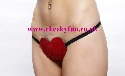 PVC Red Heart Thong