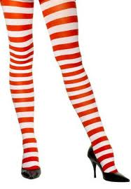 Stripey Tights - Red/White  (Smiffys)