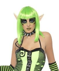 Tainted Garden 'Elf' Wig - Green with Ears  (Smiffys 22204)