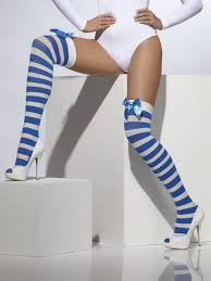 Thigh High Stockings - Blue and White Stripes with Bow (Smiffys 21150)