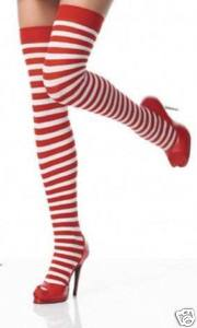 Thigh High Stockings - Striped - Red/White or Black/Green