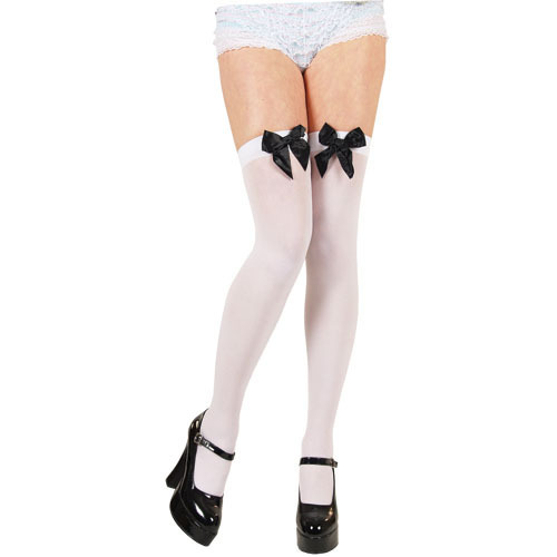 Thigh High Stockings - White with Black Bows  (Wicked)