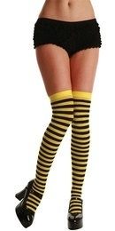 Thigh High Stockings - Yellow & Black Stripes  (Wicked)