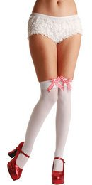 Thigh Highs - White with Red/White Gingham Bows (Wicked TS-7057)