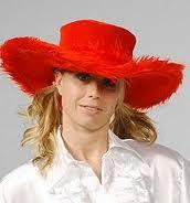 Velvet Wide Brimmed Hat - Red